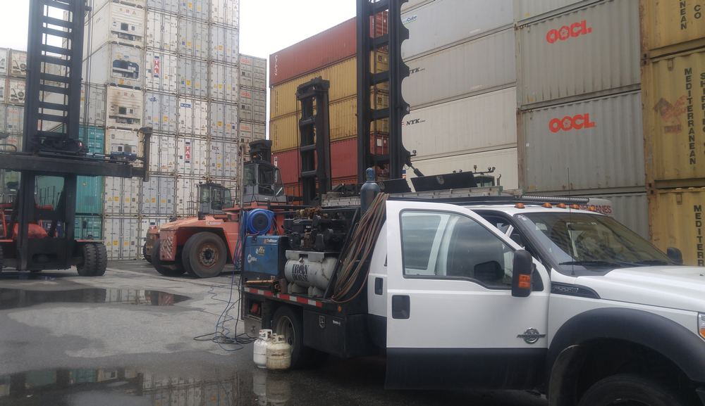 Welding truck at Vancouver Port